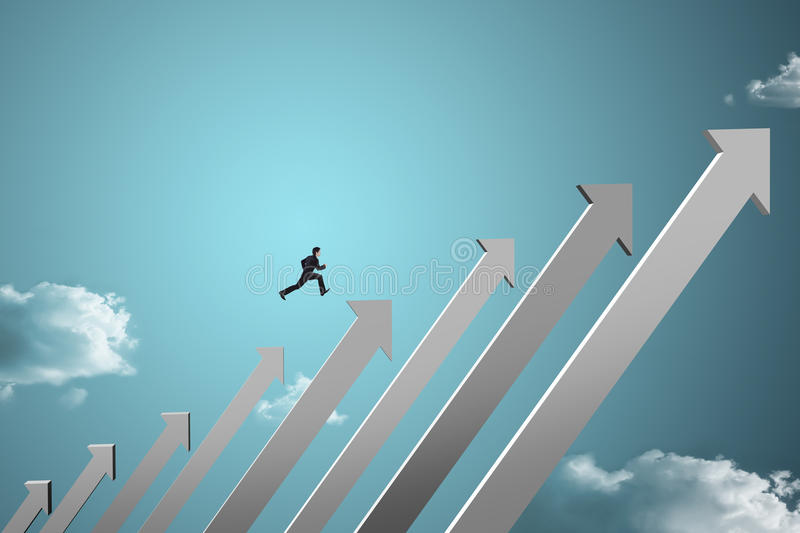 Businessman jumping on growing chart stock images
