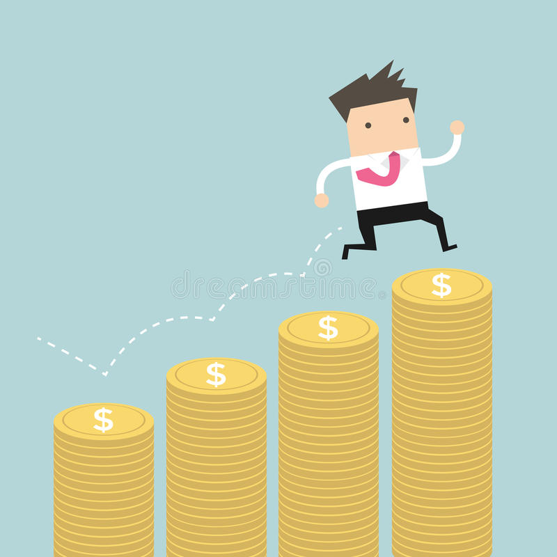 Businessman jumping on the money step stock illustration