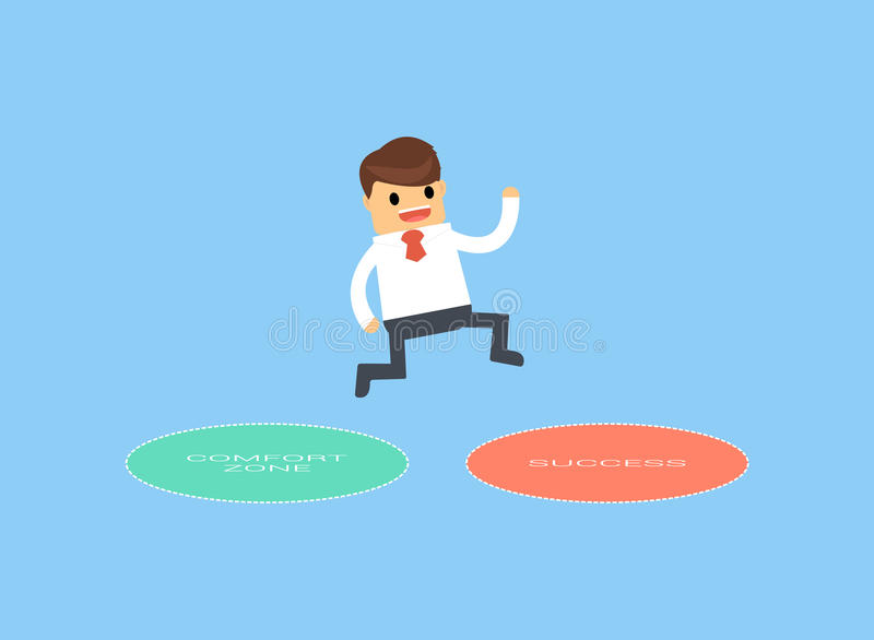 Businessman jumping out of the comfort zone to success. vector illustration
