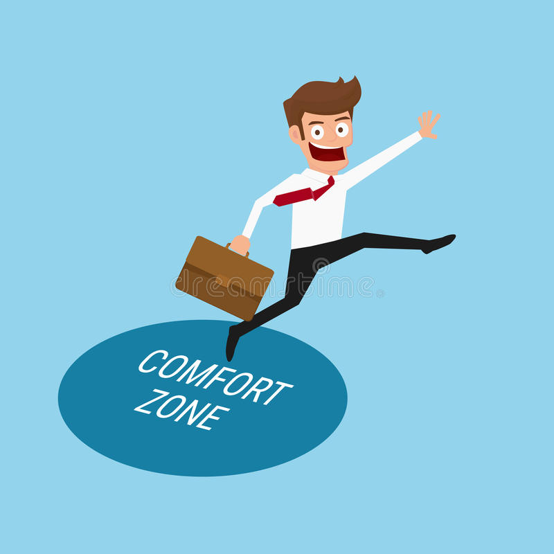 Businessman jumping out of the comfort zone to success. royalty free illustration