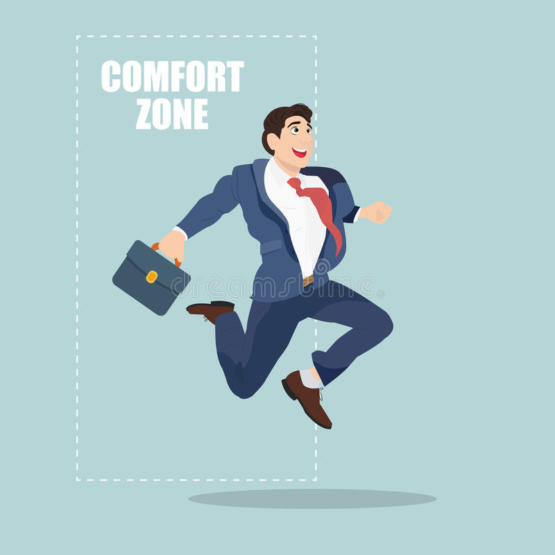 Businessman jumping out of the comfort zone to success stock illustration