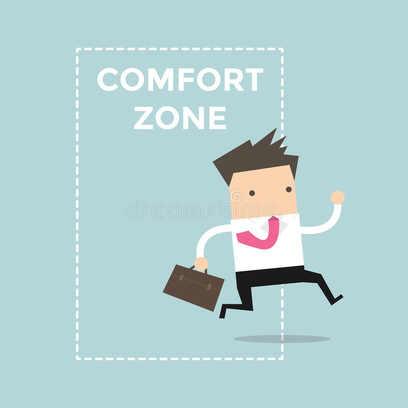 Businessman jumping out of the comfort zone to success. stock illustration