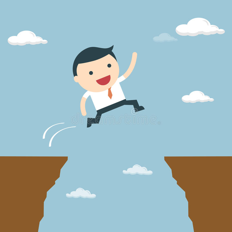 Businessman jumping over the cliff to goal. Businessman jump through the gap vector illustration
