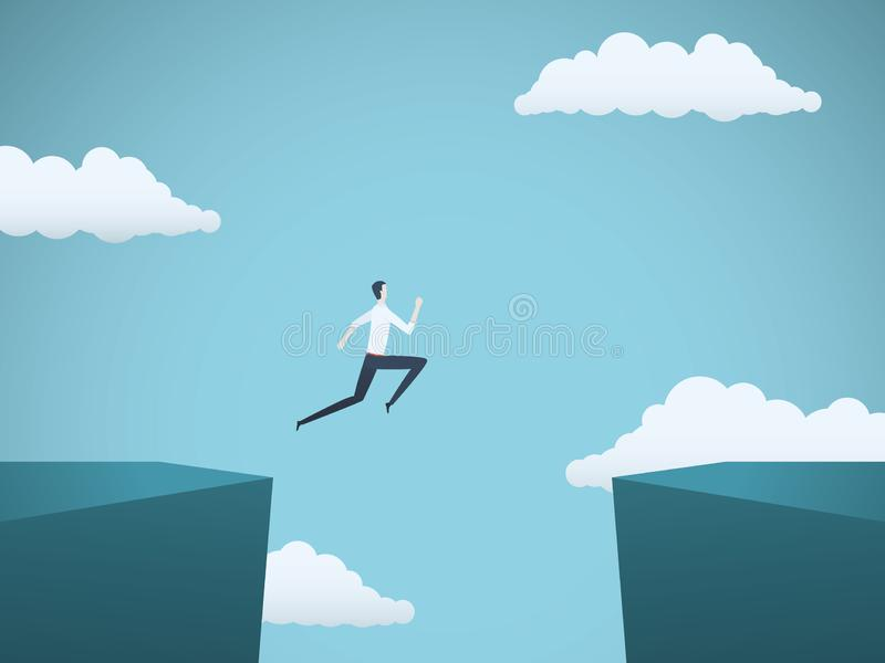Businessman jumping over gap between cliffs vector concept. Symbol of business risk, success, motivation, ambition and. Challenge. Eps10 vector illustration stock illustration