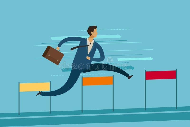 Businessman jumping over hurdle. Goal achievement business concept. Vector illustration. Businessman jumping over hurdle. goal achievement business concept stock illustration