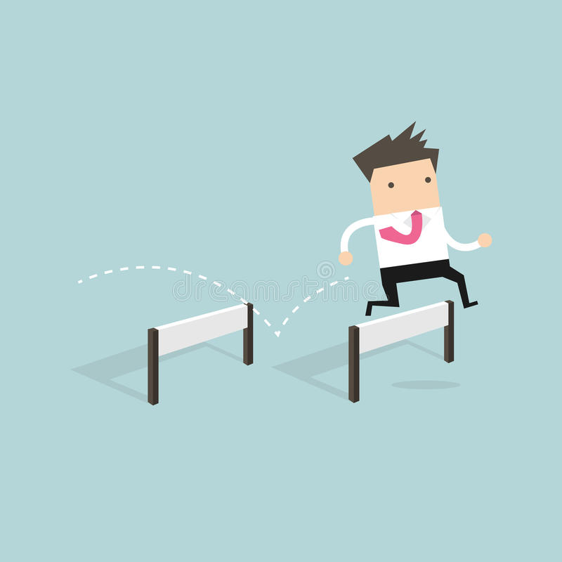 Businessman Jumping Over Hurdle vector illustration