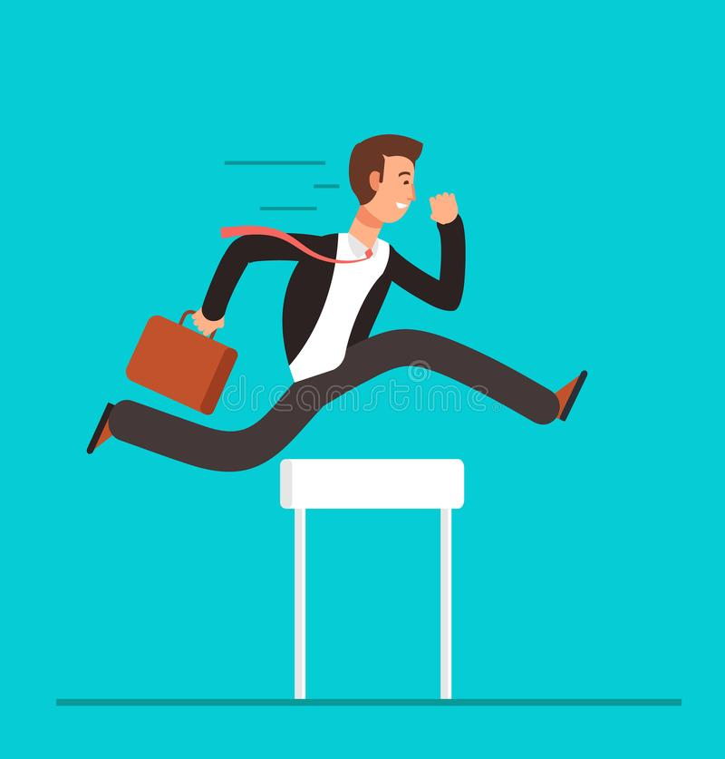 Businessman jumping over hurdles. Business challenge, successful overcoming vector concept royalty free illustration