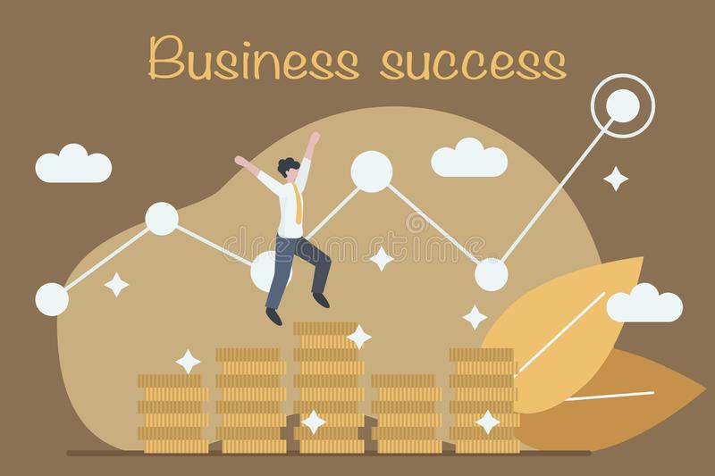 Businessman is jumping over money stacks. Concept of success, victory and growth in business. Flat style. Vector stock illustration