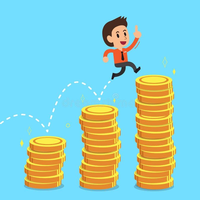 Businessman jumping over money stacks. For design royalty free illustration