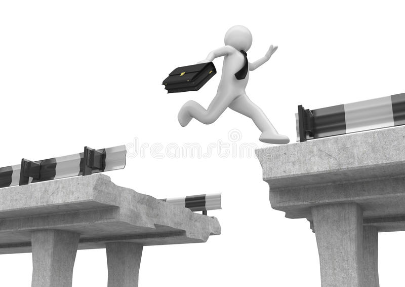 Download Businessman Jumping Over The Road Gap Stock Illustration - Image: 13409592