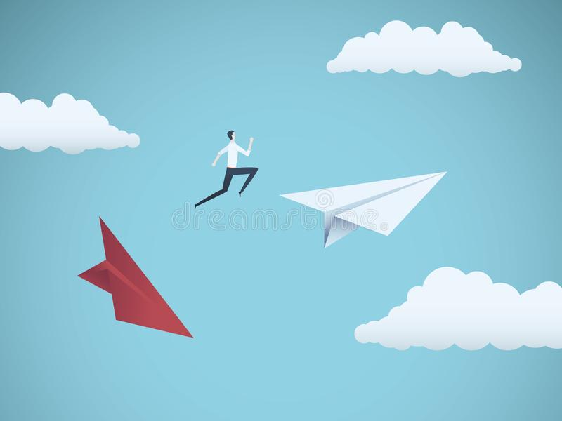 Businessman jumping between paper planes. Business symbol or metaphor for risk, danger, change, escape or bankruptcy and vector illustration
