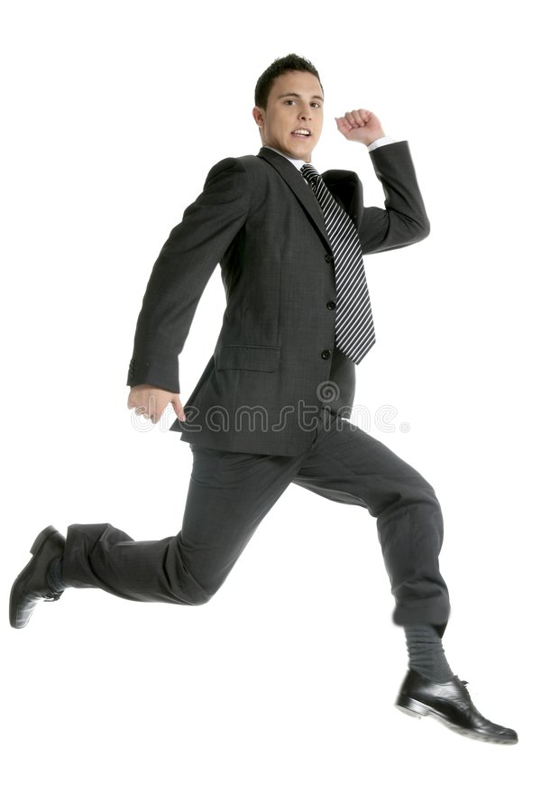 Businessman Jumping At Studio, Full On White Royalty Free Stock Photos