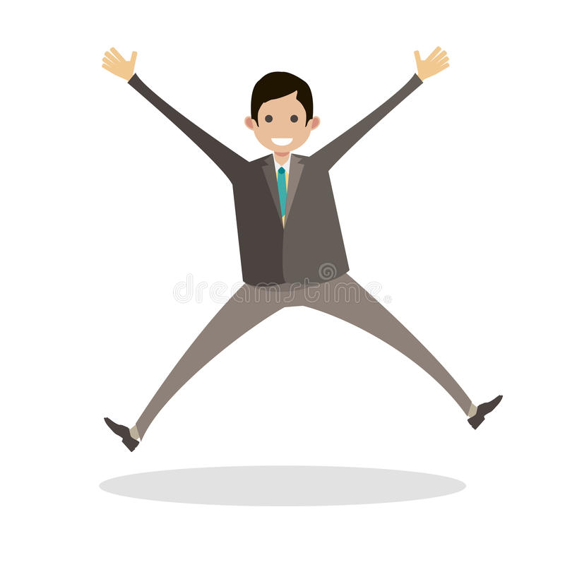 Businessman jumping for success worker. Emotions from victory. Man winner. Character vector flat illustration people. royalty free stock image