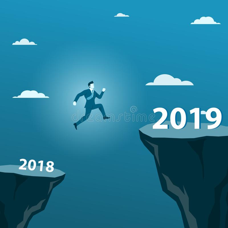 Businessman Jumping from 2018 to 2019 Cross Over the Big Gap Valley stock illustration