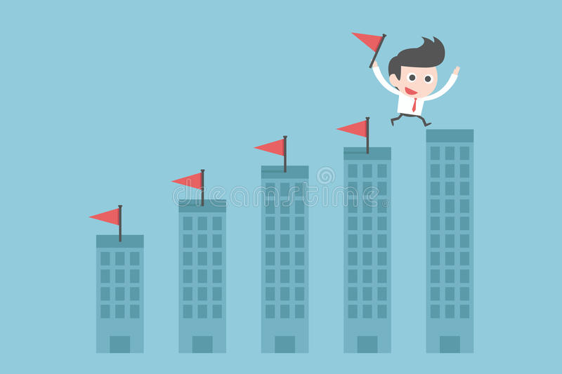 Businessman jumping to goal stock illustration