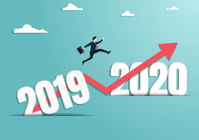 Businessman jumping to the new year of 2020 stock illustration