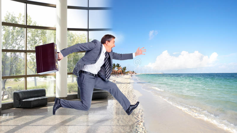 Businessman jumping on the water. Businessman running on the beach. Summer vacation stock photos