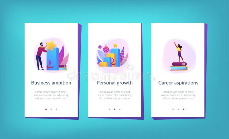 On the way to success app interface template. Businessman jumps on graph columns on the way to success. Positive thinking and success achievement, self vector illustration