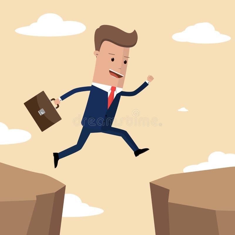 Businessman jumps over the ravine. Challenge, obstacle, optimism, determination in business concept. Vector illustration vector illustration
