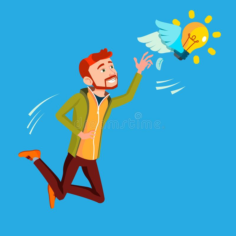 Businessman Jumps And Tries To Catch Idea Vector, Yellow Light Bulb Flying On Wings. Illustration. Businessman Jumps And Tries To Catch Idea Vector, Yellow Light stock illustration