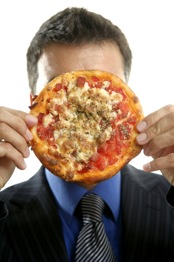 Businessman and junk fast food, pizza stock photography