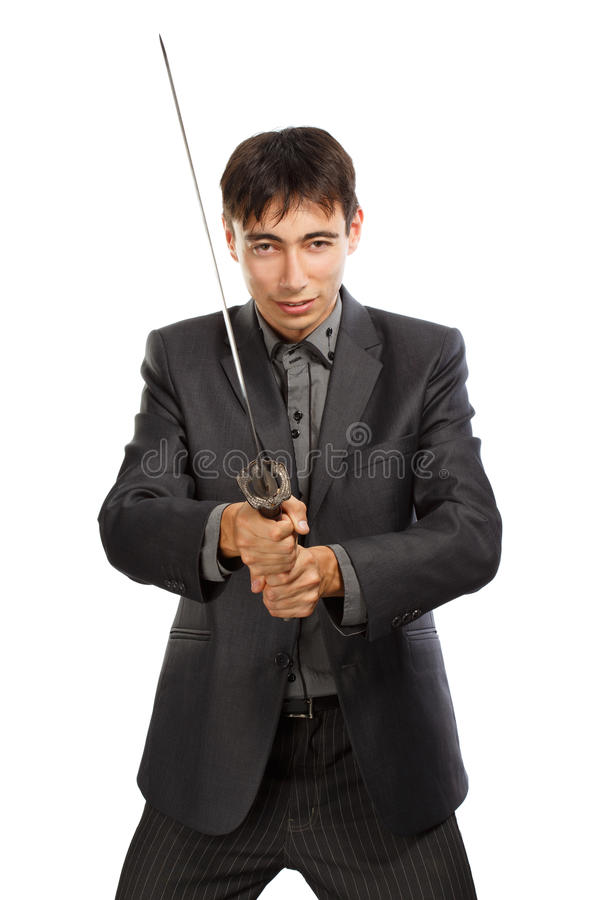Businessman with katana sword royalty free stock image