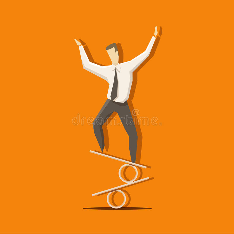 Businessman is keeping his balance on the per cent sign like a c. Ircus actor. EPS 10 file royalty free illustration