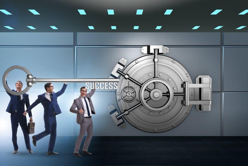 The businessman with key near bank vault door. Businessman with key near bank vault door royalty free stock image