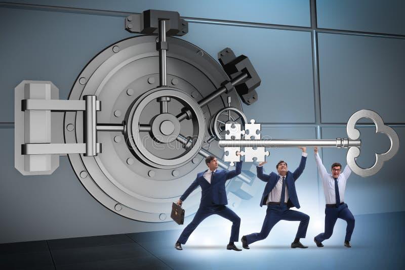 The businessman with key near bank vault door. Businessman with key near bank vault door stock photos