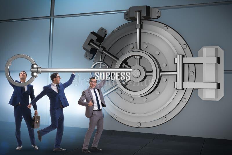 The businessman with key near bank vault door. Businessman with key near bank vault door royalty free stock photos