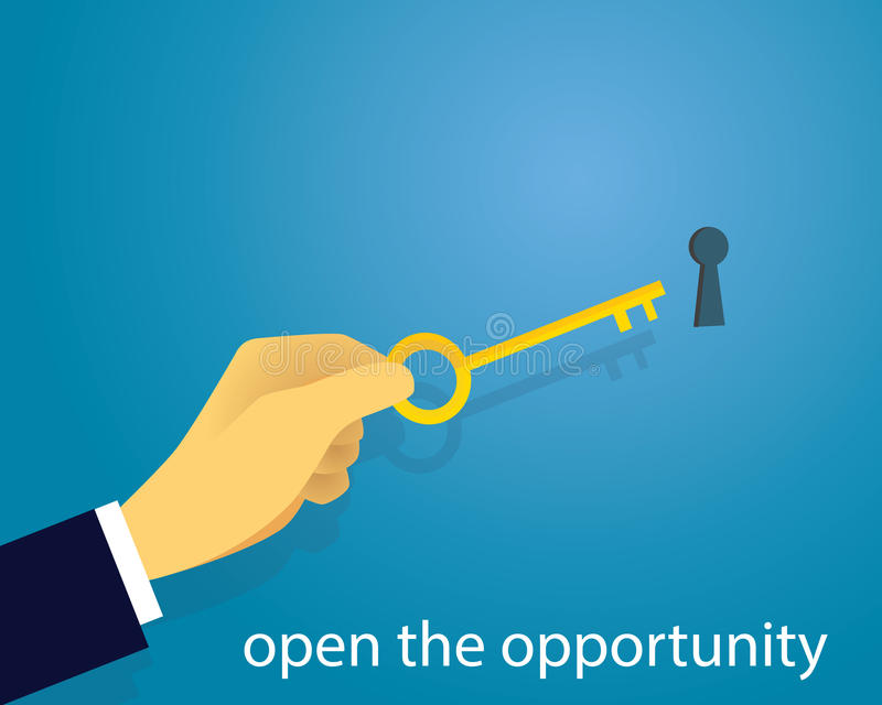 Businessman with Key of Success. Vector illustration. Business success concept. Businessman holding key of success to open door of big opportunity winning glory royalty free illustration