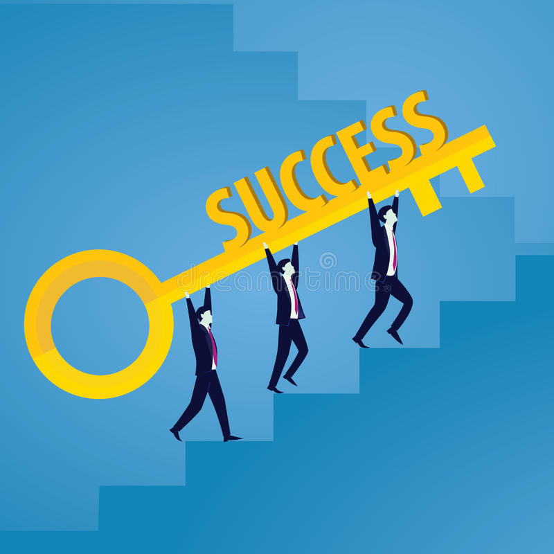 Businessman with Key of Success. Vector illustration. Business success concept. Businessman holding key of success to open door of big opportunity winning glory vector illustration
