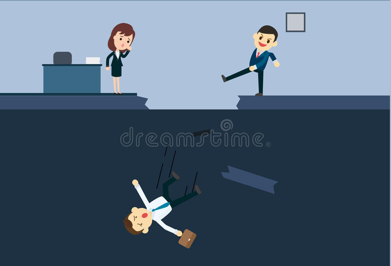 Businessman kick a employee to abyss of office. Blackmail business concept vector illustration.Business betray situation stock illustration