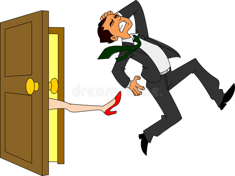 Businessman Kicked Out. Man being kicked out of the door by female leg in high heel vector illustration