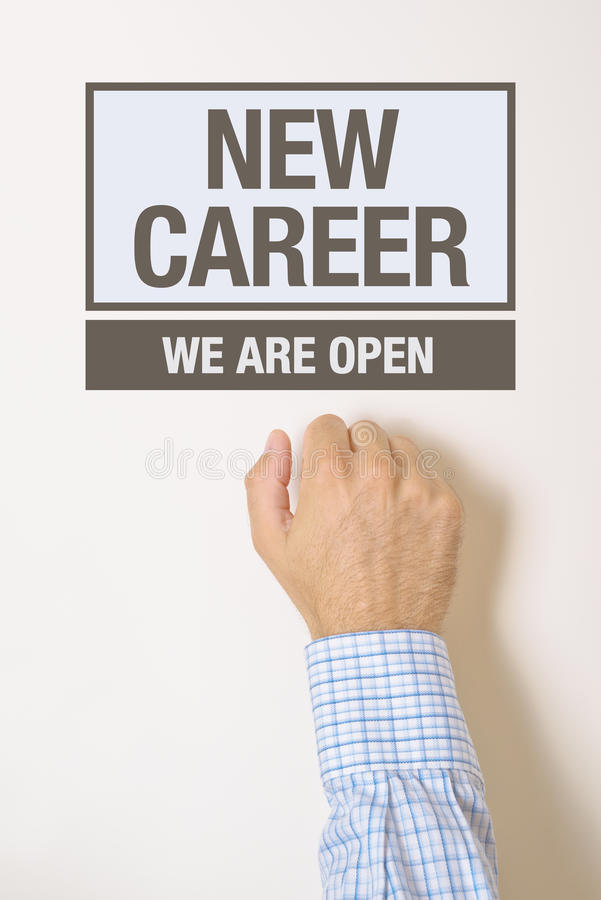 Businessman knocking on New Career door. Cocneptual image royalty free stock images