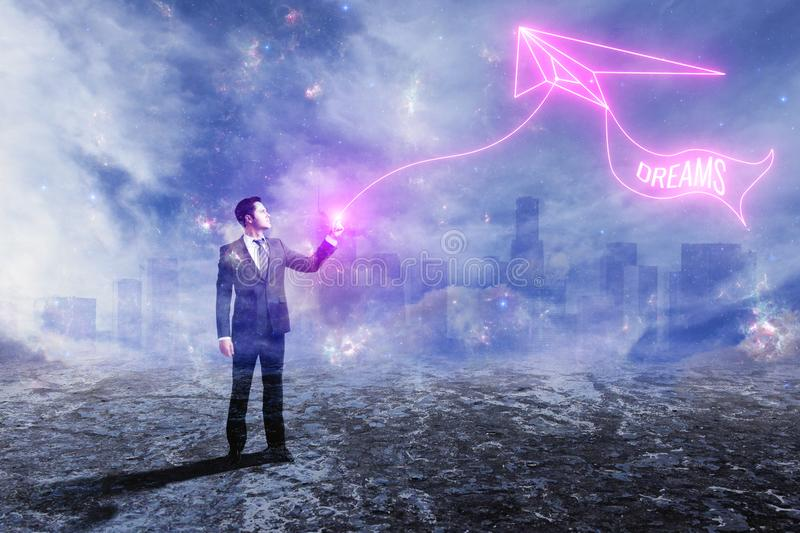 Businessman with kyte. Businessman with digital kyte on abstract outdoor background. Dreams concept. Double exposure royalty free stock photos