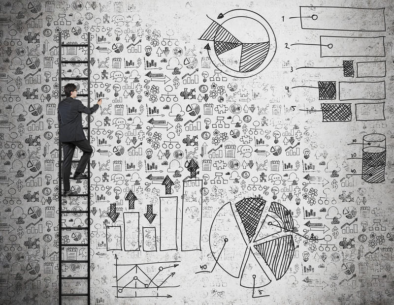 A businessman on the ladder is drawing business icons and charts on the wall. vector illustration
