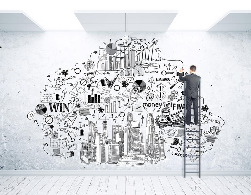 Businessman on ladder drawing sketch. Back view of young businessman on ladder drawing business sketch on wall. Success concept stock photo