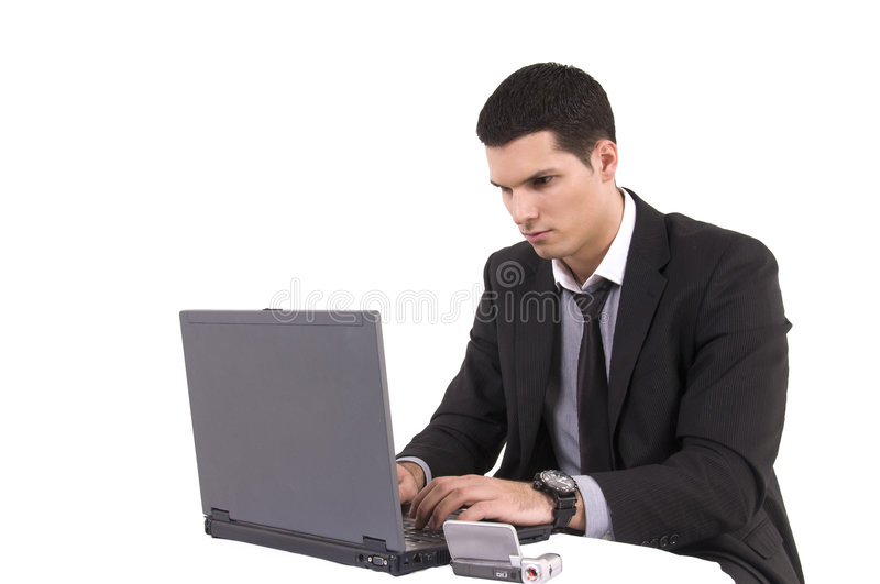 Download Businessman With Lap Top Computer And Phone Stock Photo - Image of adult, company: 8605088
