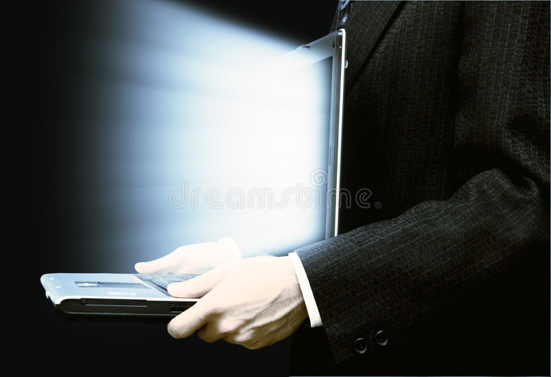 Businessman With Laptop Stock Image