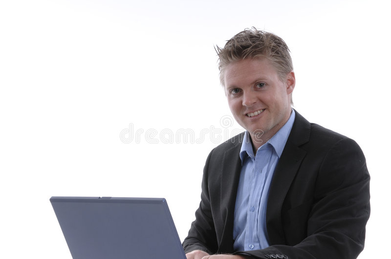 Download Businessman with laptop stock image. Image of smiling - 5504481