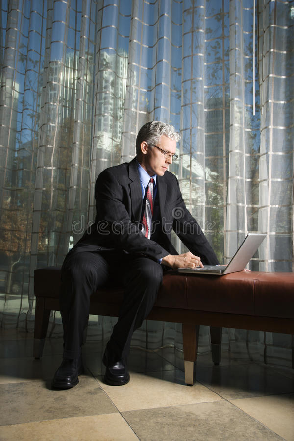 Download Businessman With Laptop Computer. Stock Image - Image: 12628899