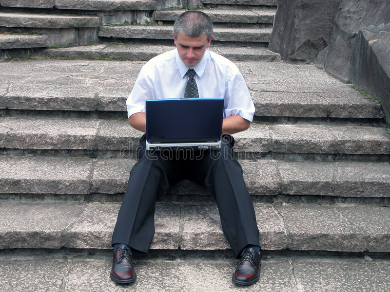 Download Businessman With Laptop Outdoor Stock Image - Image of occupation, businessman: 374203