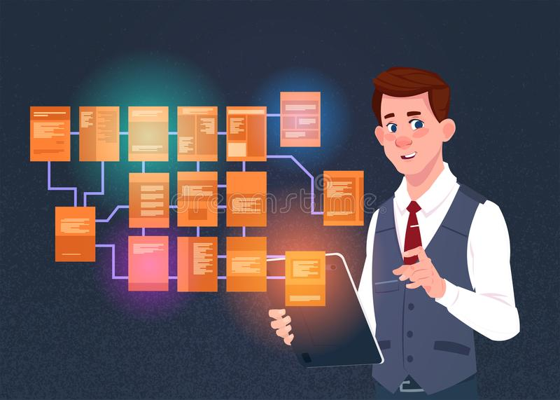 Businessman with laptop over site map suitable for info graphics, websites and print media and interfaces on dark. Background, Wireframe Structure Layout stock illustration