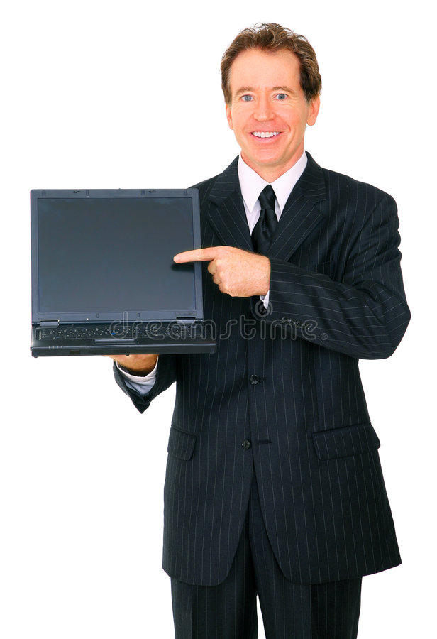 businessman laptop presenting senior to viewer στοκ φωτογραφία με δικαίωμα ελεύθερης χρήσης