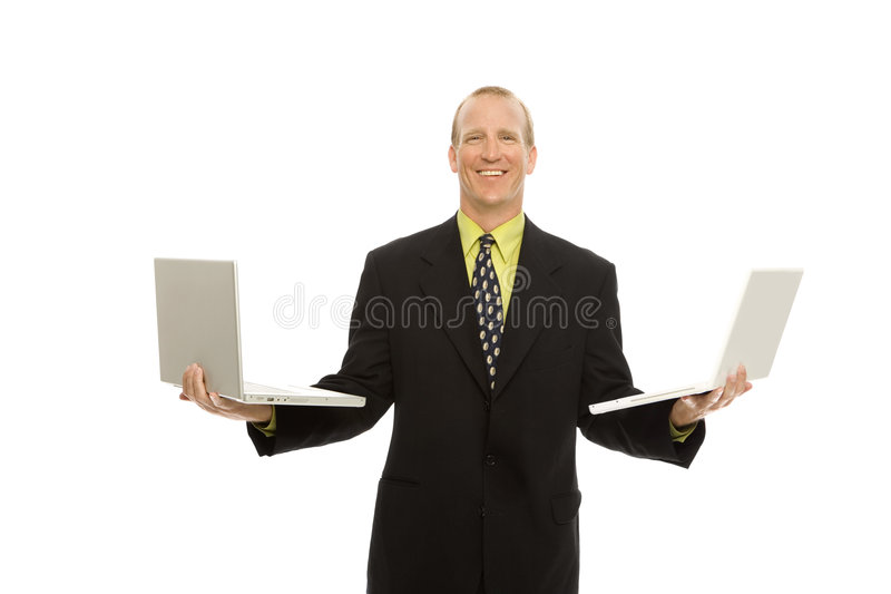 Download Businessman With Laptops Royalty Free Stock Photo - Image: 2386285