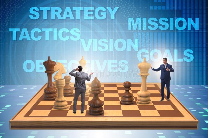 Businessman in large chess board in strategy concept. The businessman in large chess board in strategy concept royalty free stock image
