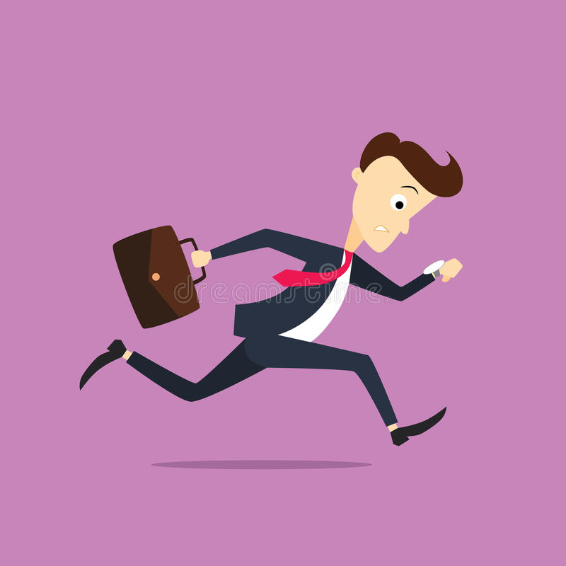 Businessman late to work royalty free illustration