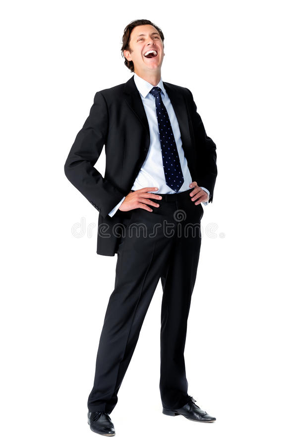 Businessman laughing out loud stock photography