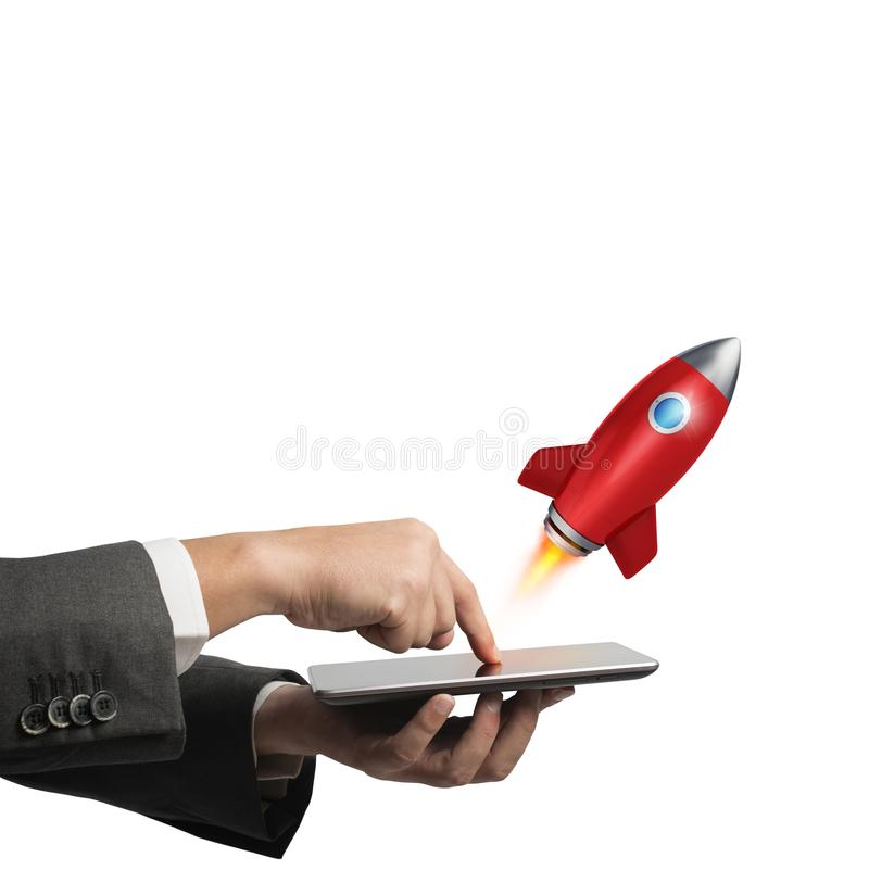 Startup working enterprise. 3D rendering. Businessman launches rocket from the mobile phone. 3D Rendering royalty free illustration